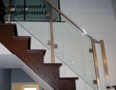 نرده شیشه ای پله با بست شیشه گیر