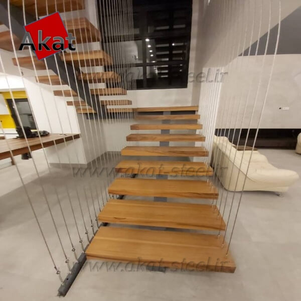 نرده کابلی آکات استیل مدل پله کابلی1