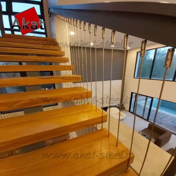 نرده کابلی آکات استیل مدل پله کابلی2